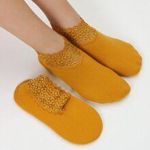 2 Paare Socken mit Kontrast Spitze
