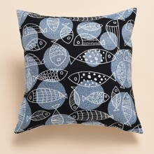 Fish Print Cushion Cover Without Filler