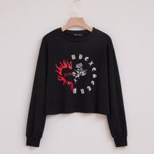 Sweatshirt mit Feuer & Grafik Muster