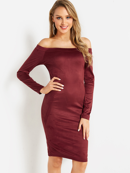Yoins Red Off The Shoulder Long Sleeves Bodycon Dress