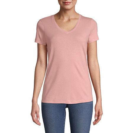 St. John's Bay-Womens V Neck Short Sleeve T-Shirt, Petite X-large , Orange