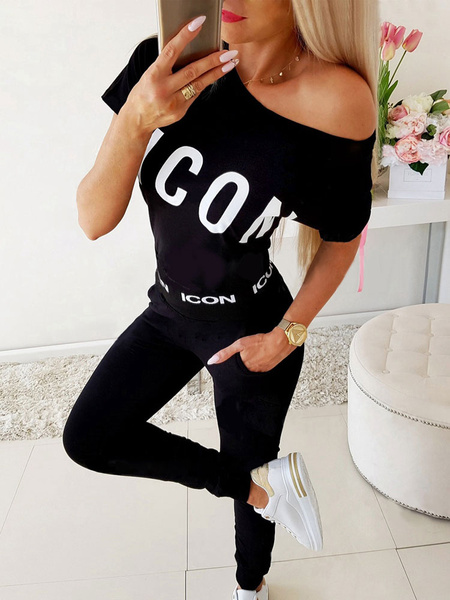 Milanoo Two Piece Sets Logo Printed Casual Short Sleeves Women Outfit