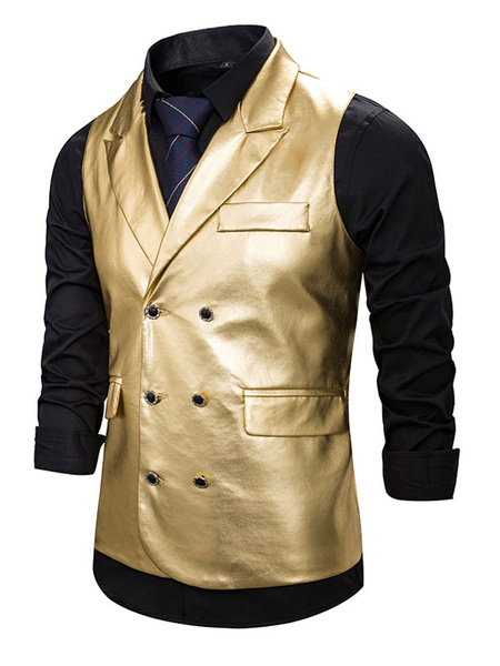 Milanoo Men Dress Vests Buttons PU Waistcoat