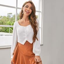 Button Front Asymmetrical Hem Top