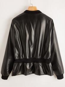 PU Leather Zip Detail Jacket