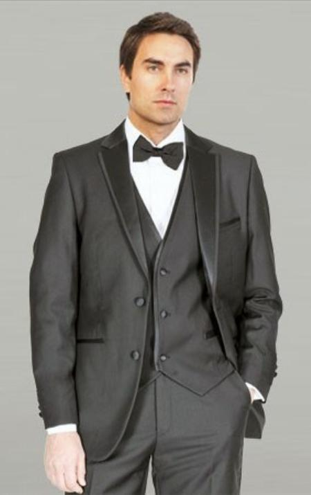 Black Framed Notch Lapel with Vest Microfiber Tuxedos