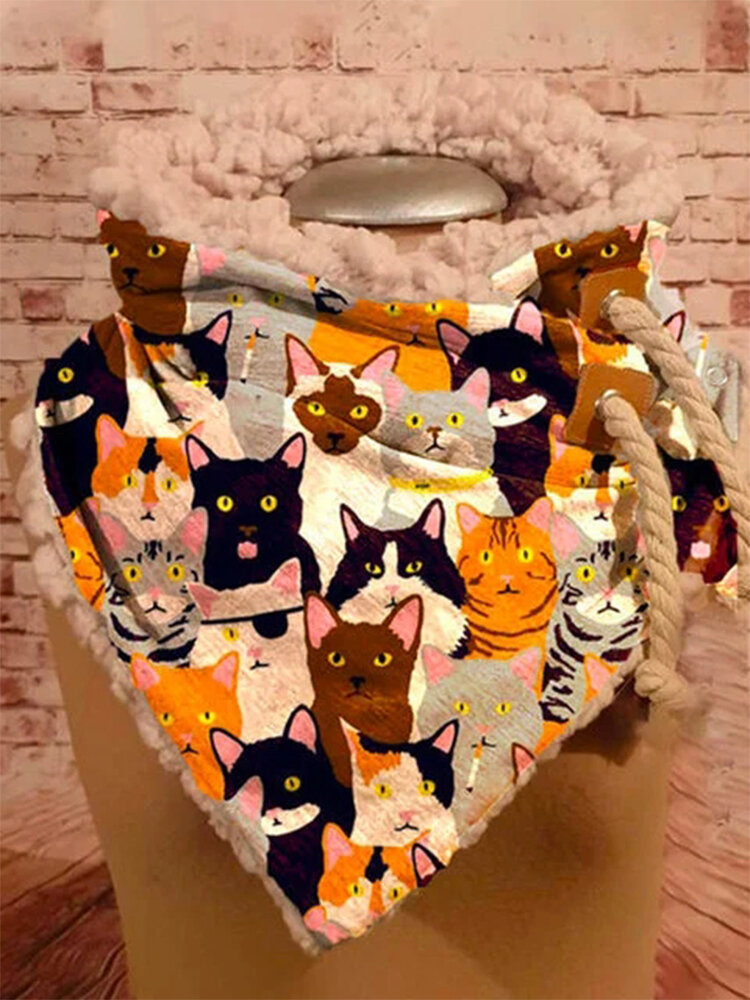 Women Cute Cartoon Cats Pattern Soft Personality Neck Protection Keep Warm Scarf