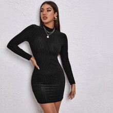 Mock-neck Rib-knit Velvet Bodycon Dress