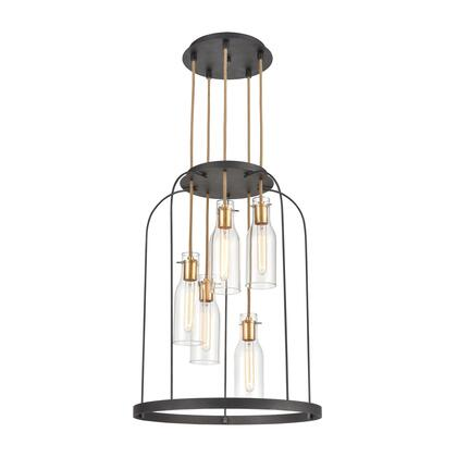 15446/5 Sheena 5-Light Pendant in Silverdust Iron with Clear