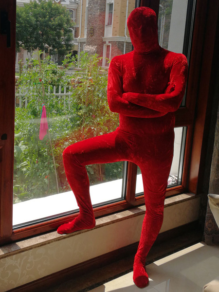 Milanoo Red Zentai Suit Adults Morph Suit Full Body Velour Bodysuit