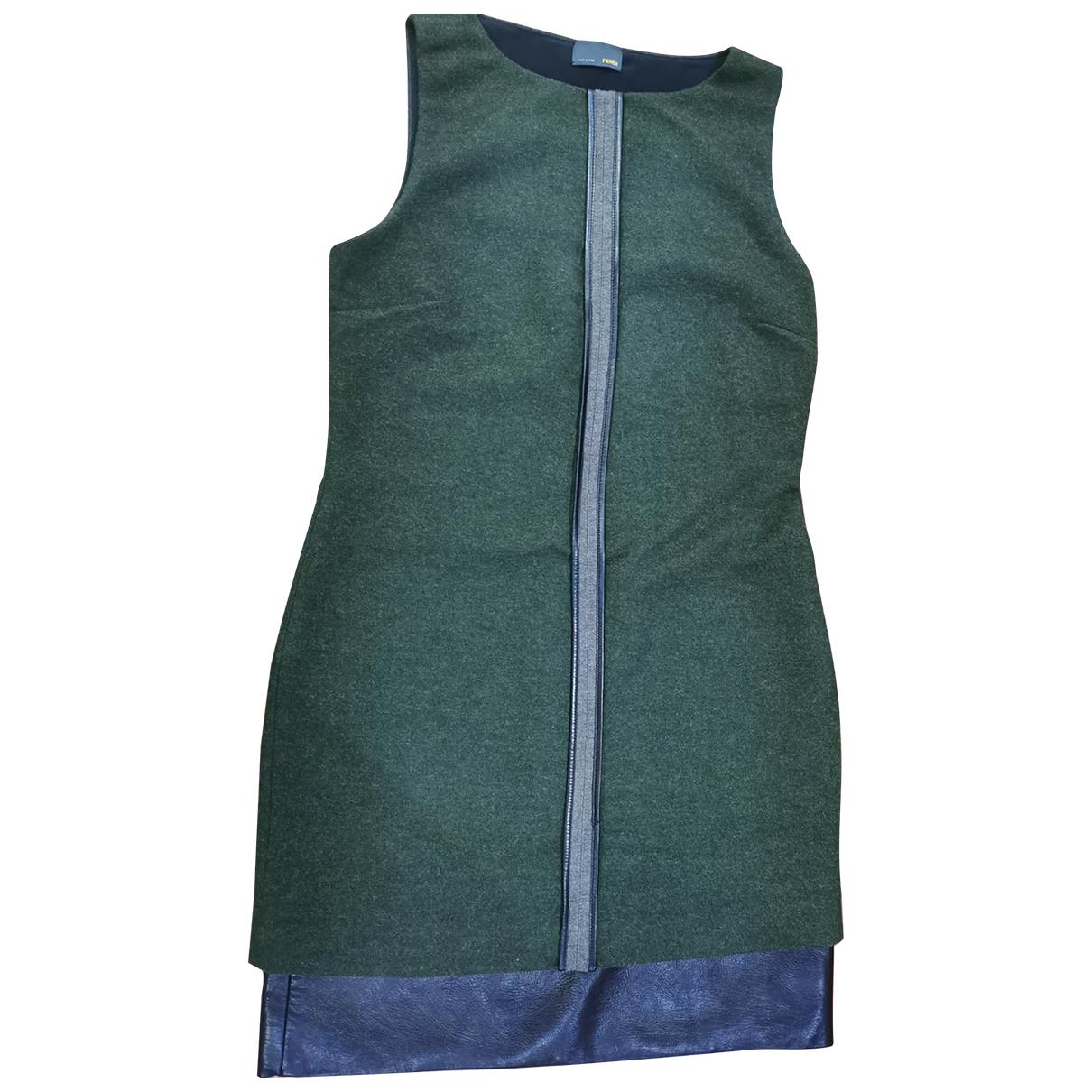 Fendi - Robe   pour femme en laine - vert