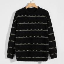 Men Striped Drop Shoulder Sweater