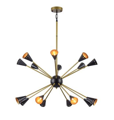 DU84 16-Light Ceiling Fixture with Stainless Steel Materials and 40 Watts in Matte Black