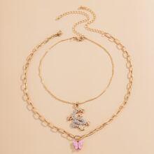 2 piezas collar con dragon con diamante de imitacion