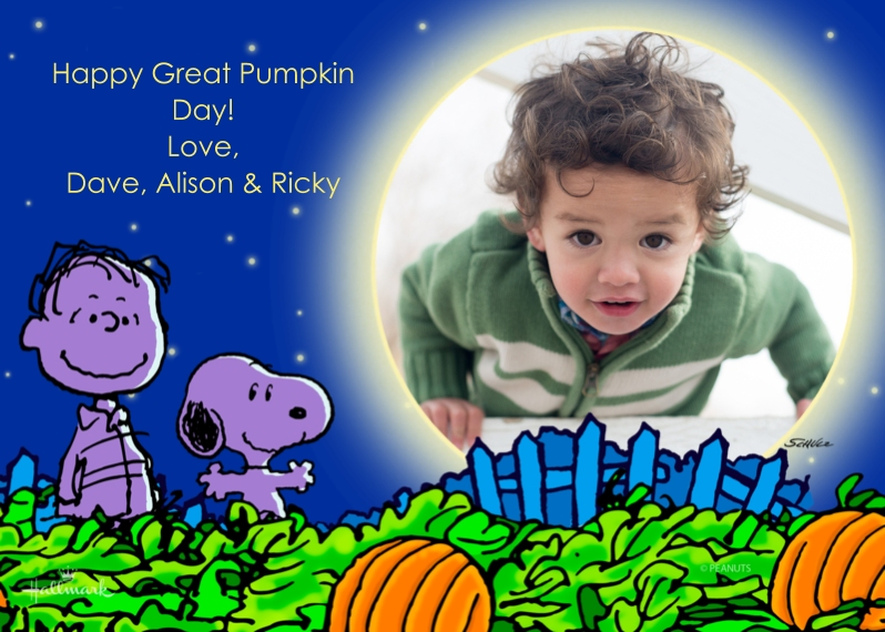 Halloween Photo Cards 5x7 Cards, Premium Cardstock 120lb with Scalloped Corners, Card & Stationery -Peanuts Great Pumpkin