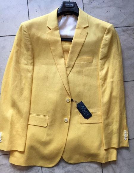 Mens Single Breasted 2Buttons 100% Linen Modern Fit lined Yellow suit