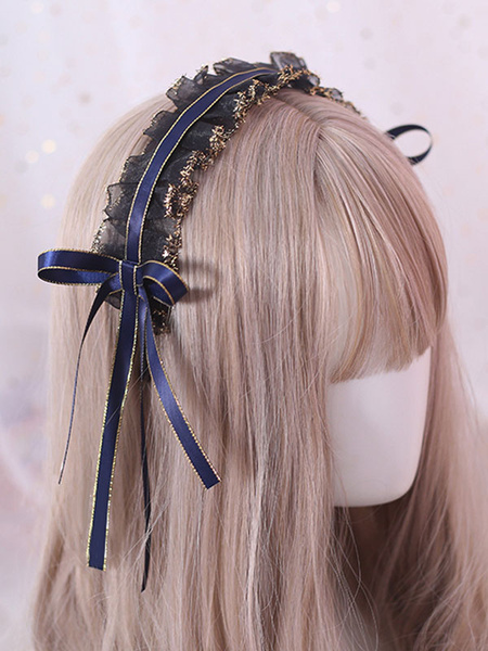 Milanoo Classic Lolita Headdress Ruffle Lace Bow Black Lolita Hair Accessory