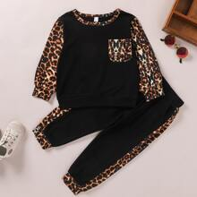 Sweatshirt & Jogginghose mit Kontrast Leopard Muster