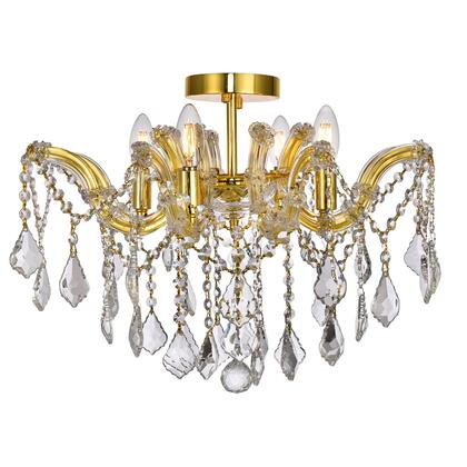 2800F18G/RC Maria Theresa 4 Light Gold Flush Mount Clear Royal Cut