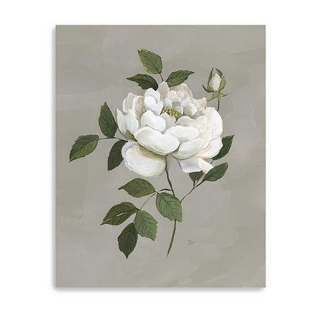 Botanical Rose Giclee Canvas Art, One Size , White
