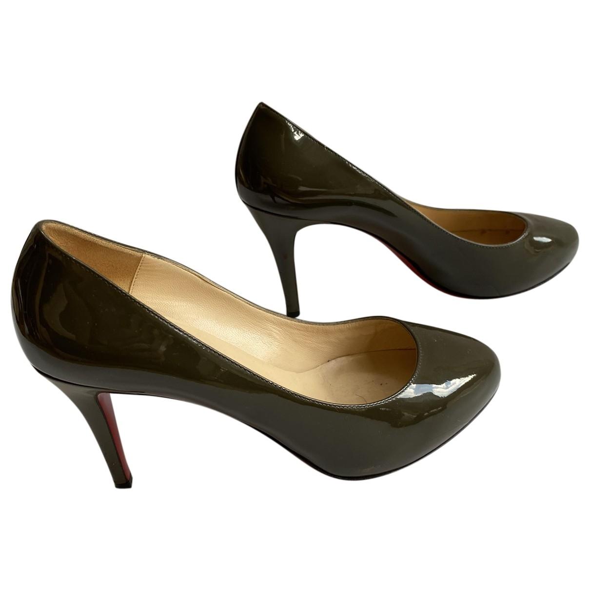 Christian Louboutin \N Khaki Patent leather Heels for Women 37 EU