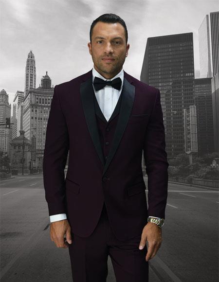 Men's Single Breasted 1 Button Black Notch Lapel Burgundy Vested Suit