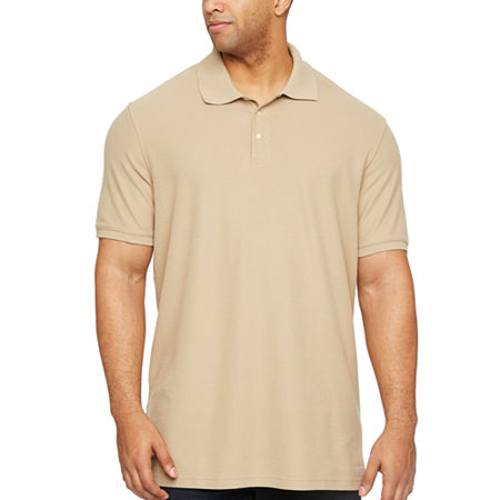 The Foundry Big & Tall Supply Co. Big and Tall Mens Short Sleeve Polo Shirt, X-large Tall , Beige