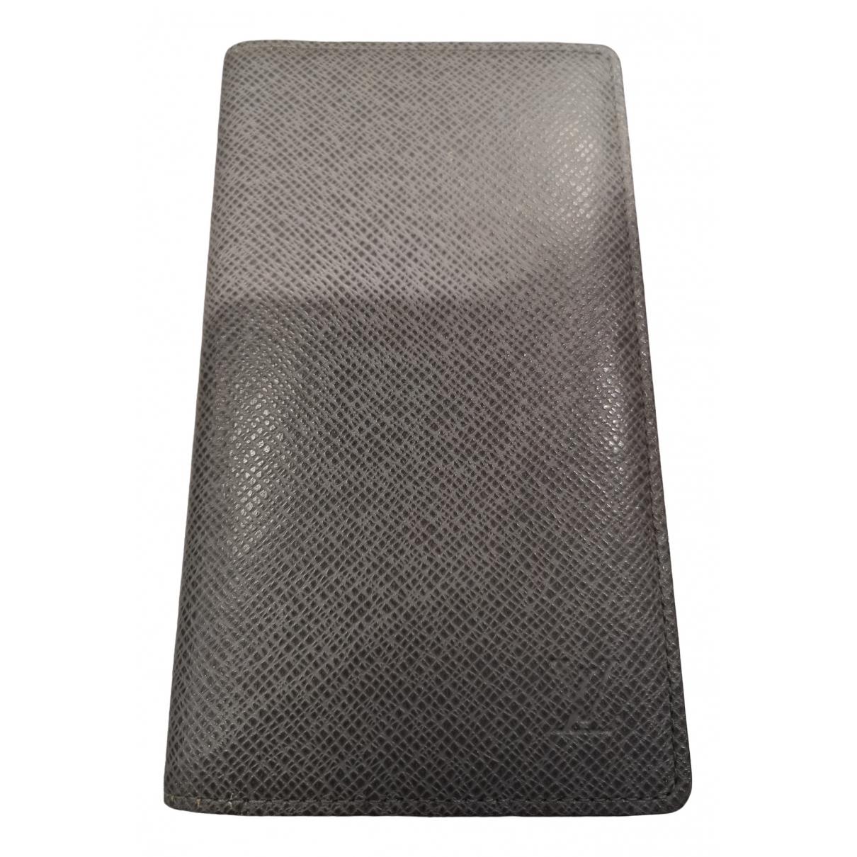 Louis Vuitton - Petite maroquinerie Brazza pour homme en cuir - gris