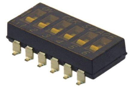 C & K 6 Way Surface Mount DIP Switch SPST, Flush Actuator