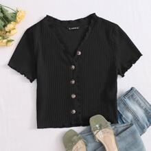 Button Front Lettuce Trim Rib-knit Tee