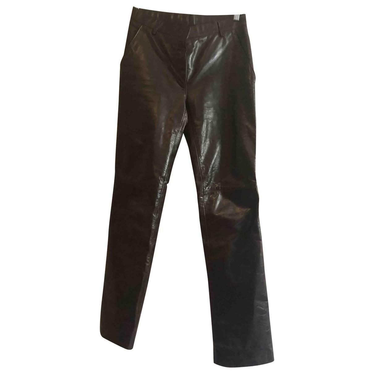 Pantalon recto de Cuero Marc Jacobs