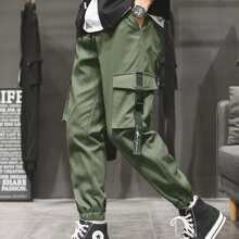 Men Flap Pocket Drawstring Waist Cargo Pants