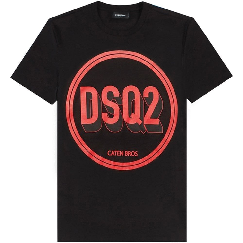 DSquared2 Circle Logo T-Shirt Colour: BLACK, Size: EXTRA EXTRA LARGE