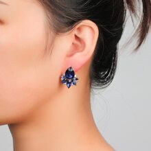 Gemstone Design Stud Earrings