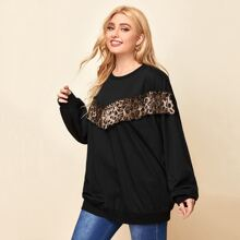 Plus Leopard Panel Ruffle Trim Sweatshirt