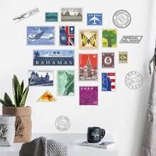 1 Sheet Postage Stamp Design Wall Sticker