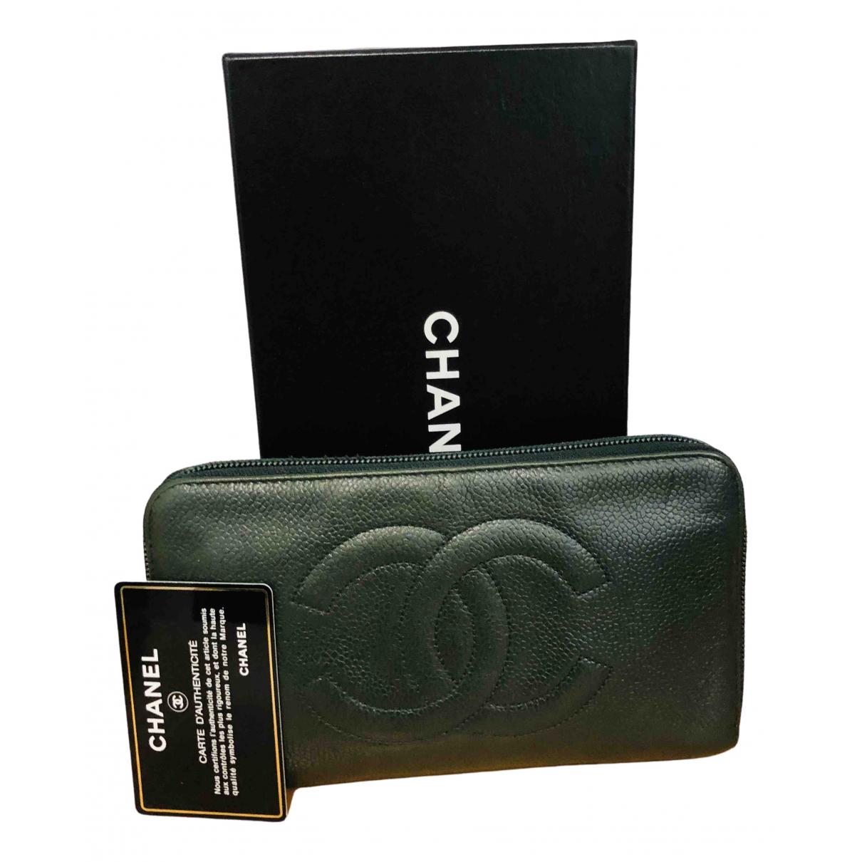 Chanel - Portefeuille   pour femme en cuir - vert