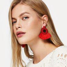 Tassel Decorated Hoop Drop Earrings 1pair