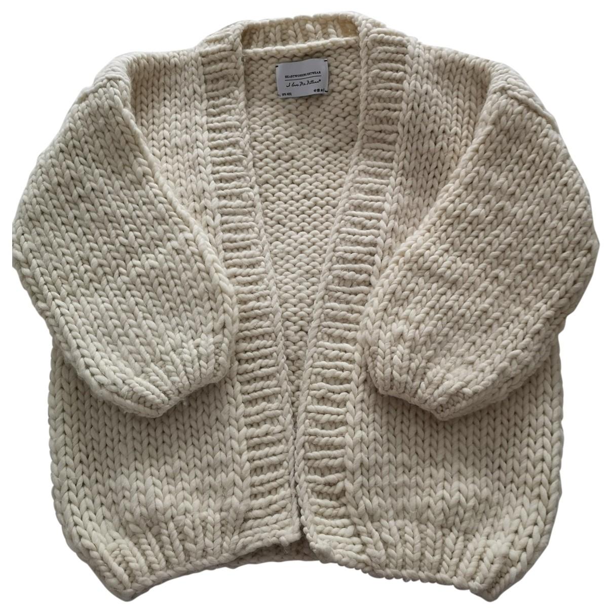 I Love Mr Mittens \N Pullover in  Ecru Wolle