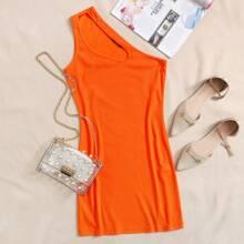 Neon orange Strick figurbetontes Kleid mit Ausschnitt und einer Schulter frei