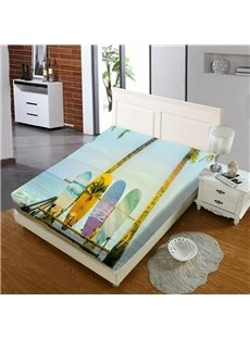 Surfboards on The Beach Reactive Printing 1-Piece Polyester Bed Cover / Mattress Cover