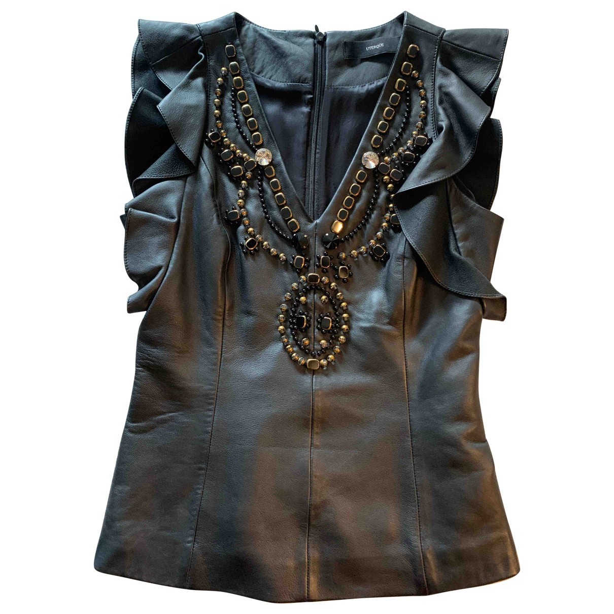 Uterque - Top   pour femme en cuir - noir