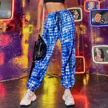 Pantalones deportivos con cordon de tie dye