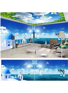 Blue Sky and Sea with Dolphin Pattern 3D Waterproof Ceiling and Wall Murals