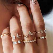 7pcs Rhinestone Ring