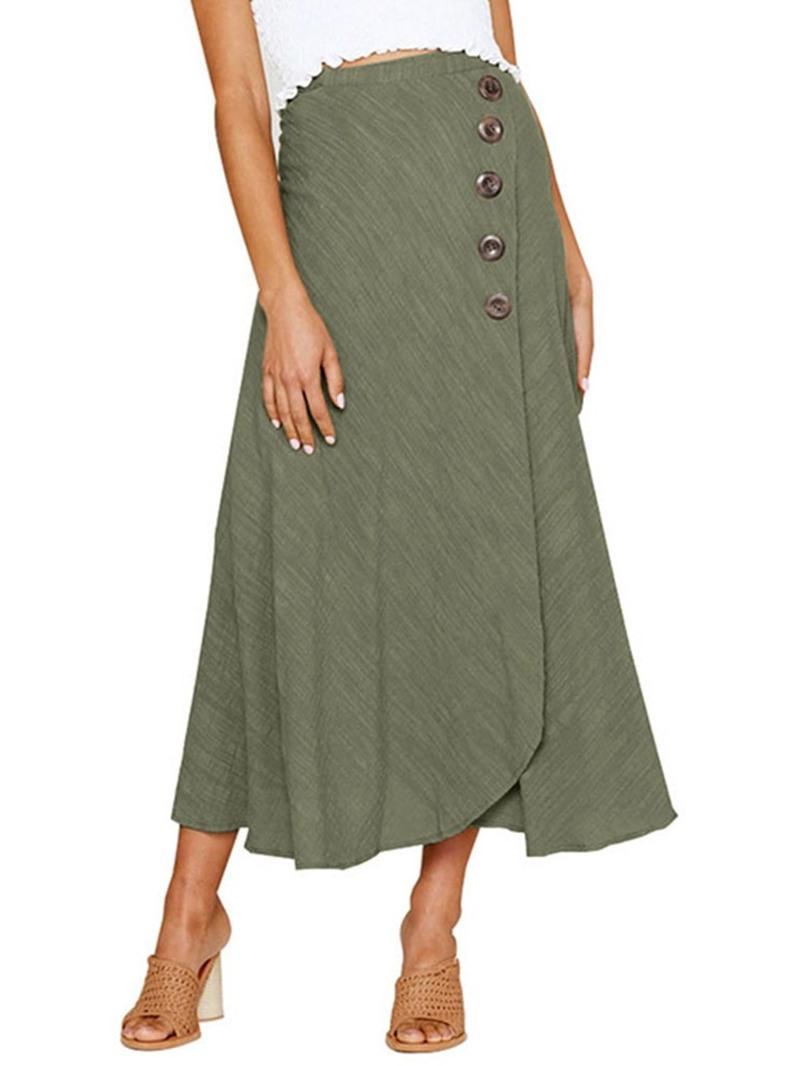 Ericdress Plain A-Line Button Ankle-Length Skirt