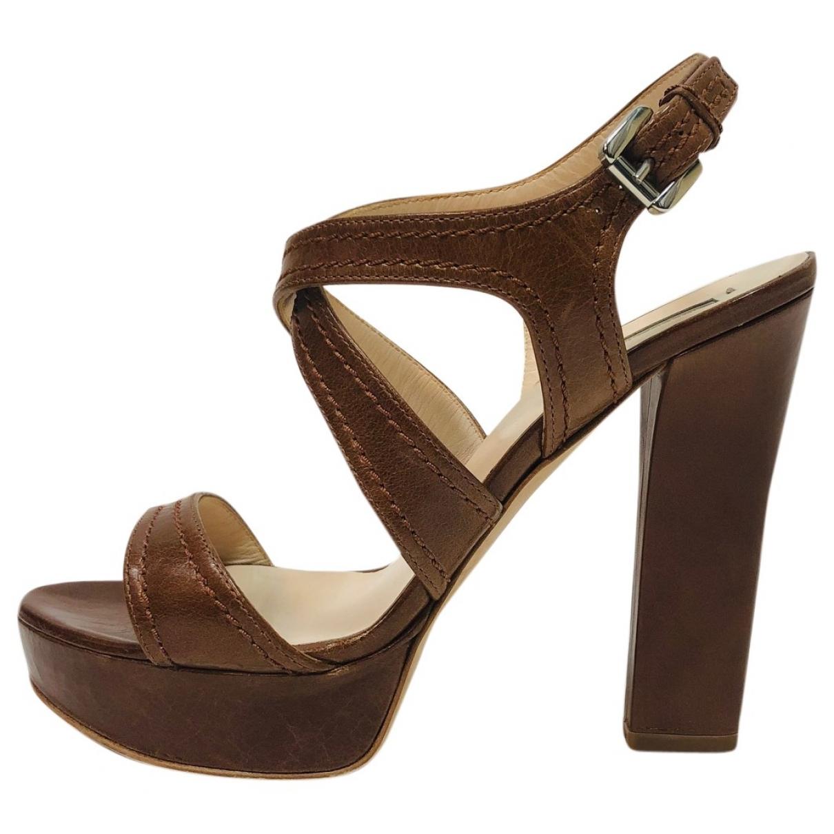 Giorgio Armani \N Brown Leather Sandals for Women 36 EU