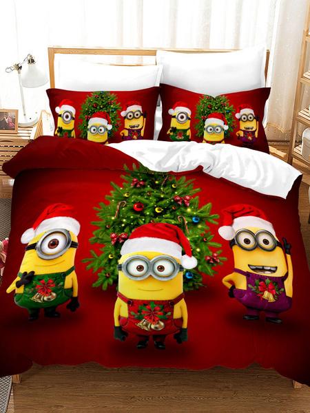 Milanoo Christmas Bedding Set Chic 3-Piece Polyester Fiber Cartoon Bedding