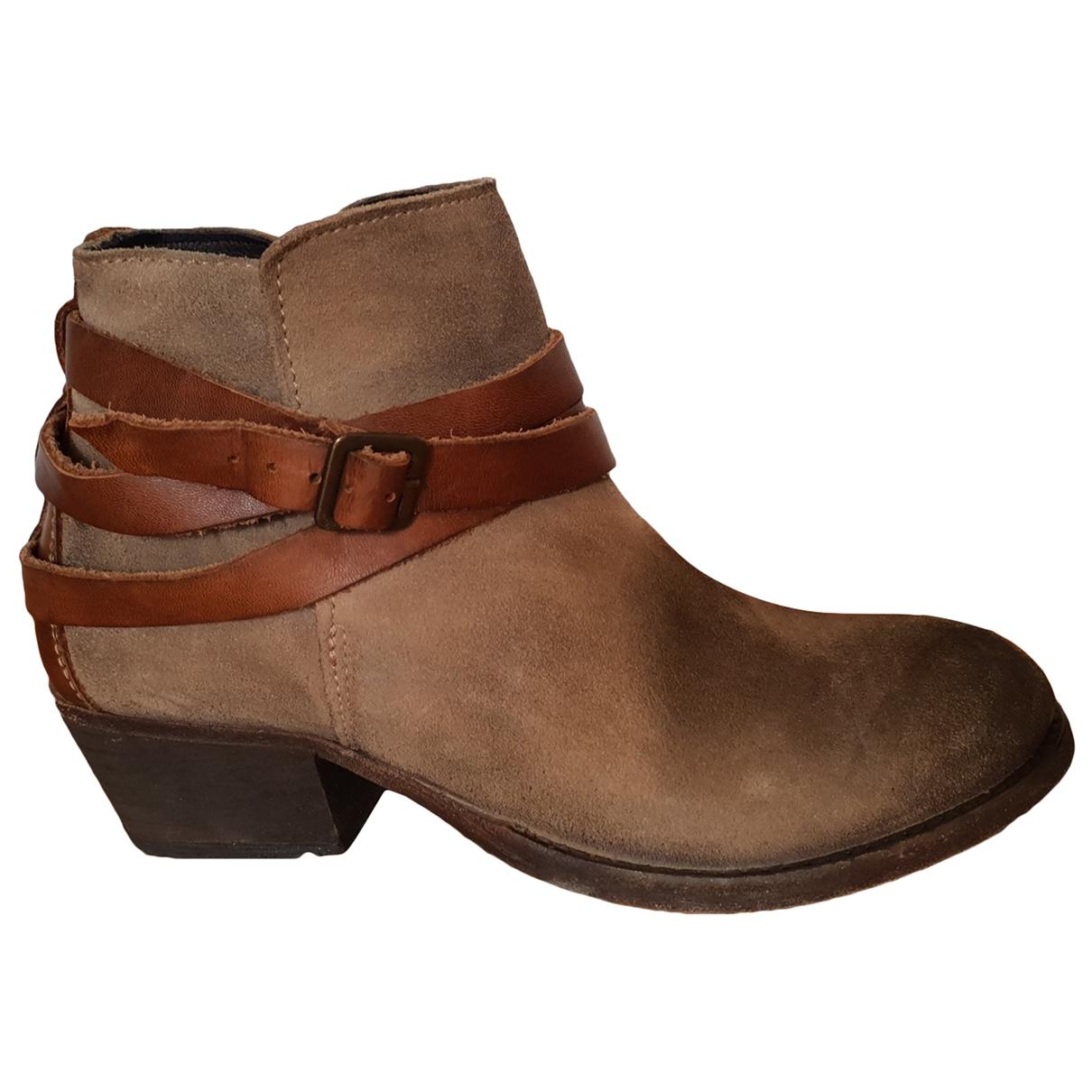 Hudson - Boots   pour femme en suede - marron