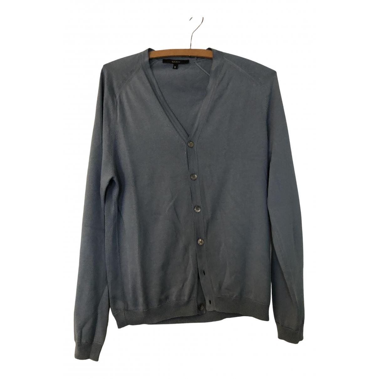 Gucci \N Pullover.Westen.Sweatshirts  in  Blau Seide